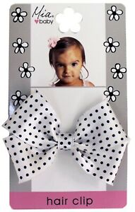 Mia Baby + Girl Frayed Satin Bow Clip, for Babies or Girls 1pc