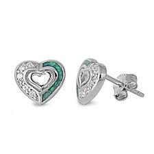 Brand New! Russian Cz & Blue Australian Opal Heart .925 Sterling Silver Earrings