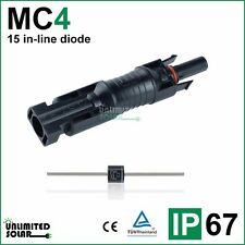 Unlimited Solar 15 Amp MC4 Style Solar Panel In-Line Diode Connector - IP 67