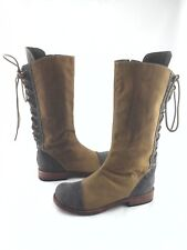 JIM BARNIER Tall Riding Boots Canvas/Leather Lace Up/Zip Women's US 8/ 38.5 $495