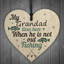 Grandad Lives Here CARP Fishing Wooden Signs Fathers Day Dad Gone Fishing GIFTS