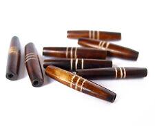 "27"" UGANDA 24pcs Carved Long rice tube pipe Beads SET antique wood color horn"