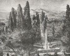 D0265 Fabio Mauroner - Villa d'Este a Tivoli - Stampa d'epoca - 1928 old print