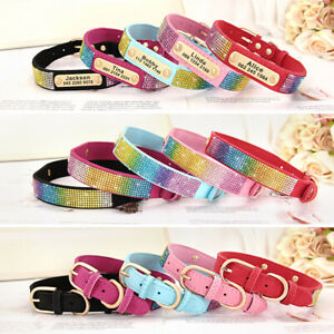 Personalized Suede Leather Dog Collar 5-8 Rows Rhinestone Pet Necklcae for Puppy