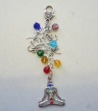 Meditation Om Chakra Beads Charm Pendant Bag Charm KeyRing Keeper