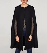 New Women's Poncho One Button Coat Jacket Cloak Cape Batwing Wool Blend Parka