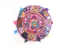 "Set 2 PCs 16"" Indian Embroidery Patchwork Floor Cushion Cover Vintage Decorative"