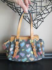 Dooney & Bourke Signature Crayon Heart Black Canvas & Leather Satchel Handbag