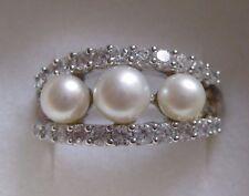 Damen-Ring - silber 925er - Gr. 16 - 3 Süßwasserzuchtperlen - rhodiniert - TOP