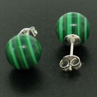 NEW Sterling Silver 10mm Green Malachite Ball Stud Earrings Simple Elegant
