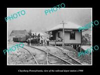 OLD LARGE HISTORIC PHOTO OF CLAYSBURG PENNSYLVANIA, THE RAILROAD STATION c1900