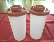 Vintage Tupperware Spice Salt Pepper Shakers (PR) #1329 Mauve Pink Flip Top Lids