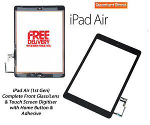 iPad Air (1st Gen) Complete Front Glass Digitiser Touch Screen Assembly - BLACK