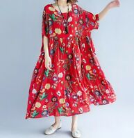 Ladies Floaty Red Oversized Floral cotton Arty Loose boho Autumn Hippy dress 16