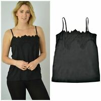 Ex M&S Black Womens Strappy Lace Cami Marks and Spencer Top