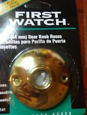 """2 FIRST WATCH SOLID POLISHED BRASS DOOR KNOB ROSES 2 1/2"""" Dia."""