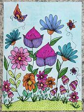 SEArts Garden B ACEO ORIGINAL Floral Garden Butterflies Flowers Art Illustration