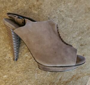 B. Makowsky Bmisla Stiletto Platform Mules Taupe Suede Size 7 NEW $160