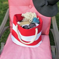 Summer Striped Braided Rope Handle Summer Vacation Beach Canvas Large Tote Bag