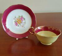 Vintage BIRKS Tea Cup and Saucer Set Hot Pink Yellow Floral Flowers Gold Trim