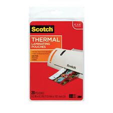 "New Scotch 4"" x 6"" Photo Size Thermal Laminating Pouches - 20pk - Free Shipping"