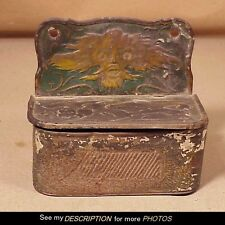 Antique Victorian Paint Decorated Tin Wall Match Safe / Holder Dragon's Head