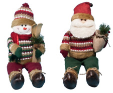 "Stuffed Snowman and Santa Decoration 12"" Weighted Base Christmas Holiday Decor"