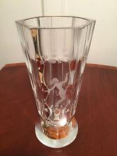 """Vintage Signed ORREFORS Etched Crystal Glass 10"""" NUDE SWIMMER VASE Nils Landberg"""