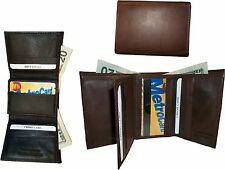 Lot of 3 Man's leather trifold wallet, Brown tri-fold leather wallet, 2 billfold