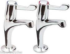 LEVER KITCHEN SINK PILLAR TAPS CHROME PAIR EASY USE 1/4 TURN HOT & COLD SET TVK
