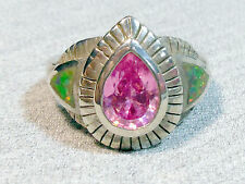 925 STERLING SILVER MULTICOLOR FIRE OPAL, PINK TOPAZ SOLITAIRE RING (US 7 )