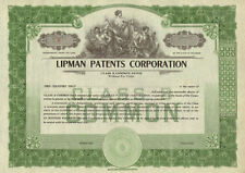 Lipman Patents Corporation > collectible stock certificate share scripophily