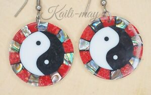 Yin Yang Mother of Pearl and Abalone Shell Earrings with rounded shape