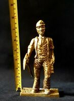 Vintage Antique Large Heavy 1.22Kg Solid Brass Pit Coal Miner Figurine Statue