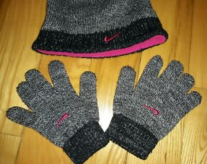 NIKE YOUTH GIRLS BLACK PINK SPARKLY STOCKING HAT GLOVES SET WINTER SIZE SMALL