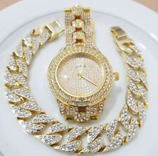 "Mens Hip Hop 9"" Bling watch & 9"" Iced Out Bracelet Womens Jewelry Gold Jewellery"
