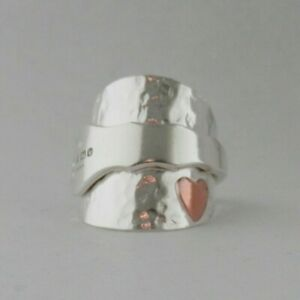 Silver Spoon Ring Handmade Copper Heart Sterling 925 Hammered Fully Hallmarked