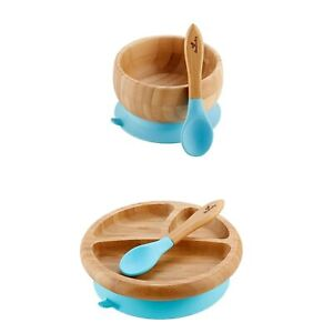 Avanchy Bamboo Baby Bowl + Baby Plate + 2 First Stage Spoons