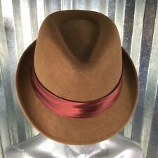 Fedora 100% Wool Warm Brown Hat Size S/M Cognac Burgundy Ribbon