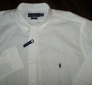 NWT Ralph Lauren 100% COTTON STRETCH Solid White Shirt Men's 2XLT Navy Polo Pony