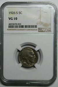 1926 S NGC VG10 Buffalo nickel