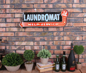 Vintage LED Light Metal Hanging Signs LAUNDROMAT Laundry Shop Art Wall Decor