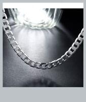 Chaîne 55 Cm X 8MM Gourmette diamantée Maille Plate En Argent Massif 925/1000