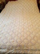 "Vintage Handmade Crochet POPCORN  Bedspread Coverlet- 94""x 78"" Cream / Ivory"