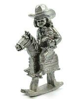 Michael Ricker Pewter Figurine Girl on Hobby Horse Holding Teddy Bear #2874