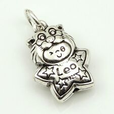 S925 Stamped Sterling Silver 12x17mm Leo Horoscope Zodiac Baby Star Pendant