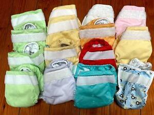 lot of 14 cloth diapers bumGenius, hook and loop, used