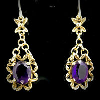 VICTORIAN 9CT AMETHYST EARRINGS GENUINE GEMSTONES HALLMARKED REMARKABLE C1870