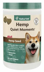 NaturVet Quiet Moments HEMP Soft Chews 60 count (Jar) for Dogs