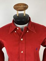 Ralph Lauren Mens Sz L Red Corduroy BLAKE Long Sleeve Dress Shirt Blue Pony
